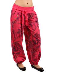 YooY Pohodlné volné kalhoty se vzorem korálová