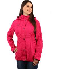 YooY Módní dámská bunda na zip a patenty růžová