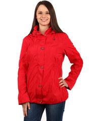 YooY Módní dámská bunda na zip a patenty červená