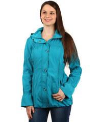 YooY Módní dámská bunda na zip a patenty modrá