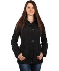 YooY Módní dámská bunda na zip a patenty černá