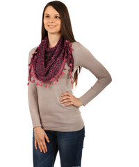 YooY Moderní šátek s ornamenty tmavě růžová