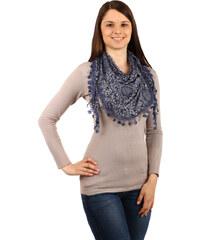 YooY Moderní šátek s ornamenty tmavě modrá