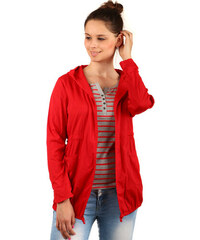 YooY Ležérní sako s kapucí a kapsami červená
