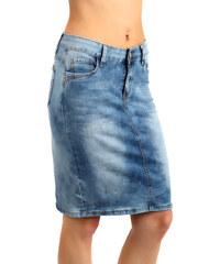 YooY Klasická džínová sukně s rozparkem vzadu modrá