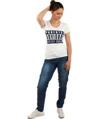 YooY Pohodlné tričko s nápisy bílá