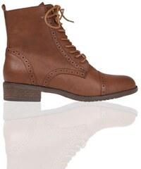 boots montantes lacees Marron Synthetique (polyurethane) - Femme Taille 40 - Cache Cache