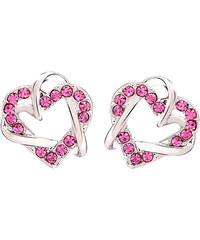 Lesara Ohrstecker im Herz-Design mit Swarovski Elements - Pink