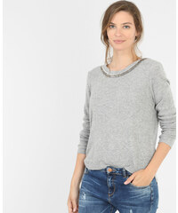 Pull col perles rocaille gris, Femme, Taille L -PIMKIE- MODE FEMME