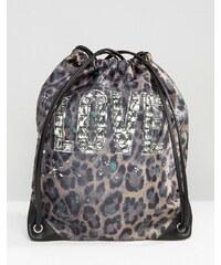 Love Moschino Love Moshino - Sac à dos à imprimé léopard en nylon avec cordon de serrage - Vert