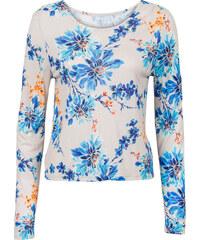 RAINBOW T-shirt fleuri avec dos ouvert beige manches longues femme - bonprix
