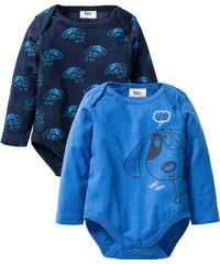 bpc bonprix collection Lot de 2 bodies à manches longues en coton bio, T. 56/62-92/98 bleu enfant - bonprix