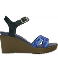 Crocs Leigh II Ankle Strap Graphic Wedge Nautical Navy/Walnut
