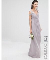 TFNC Tall Wedding - Robe longue cache-cœur à épaules dénudées - Gris