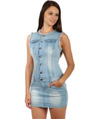 9d8a024e62d5 Glara Krátke dámske džínsové šaty so širokými ramienkami