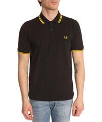 FRED PERRY Schwarzes Slimfit-Poloshirt mit gelbem Streifen
