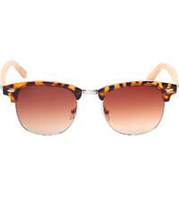 Lesara Sonnenbrille mit eckigen Gläsern & Holzbügel - Mehrfarbig