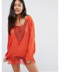 Anmol - Top de plage manches longues à franges - Orange