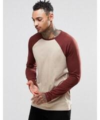 ASOS - T-shirt à manches longues raglan contrastantes - Beige