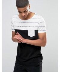 ASOS - T-Shirt mit Ministreifen und U-Boot-Ausschnitt - Schwarz