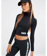 Fila - Top court à manches longues et col roulé avec petit logo multicolore - Noir