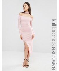 Naanaa Tall - Bardot-Bleistiftkleid mit Verzierung am Ausschnitt und Schlitz - Violett