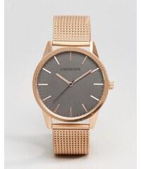 UNKNOWN - Montre classique 39mm avec bracelet en maille - Or rose - Doré