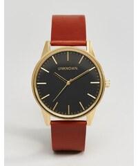 UNKNOWN - Klassische Uhr mit hellbraunem Lederarmband und schwarzem Zifferblatt, 39mm - Bronze