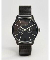 UNKNOWN - Uhr mit schwarzem Netzarmband, 39mm - Schwarz