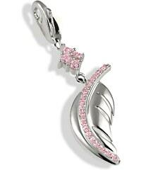 Averdin Charms Silber 925/- Feder rosa Zirkonia Karabiner
