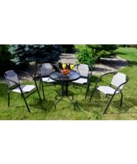 Zahradní set Swerly 4 židle + 1 stůl šedý - šedá