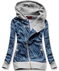 Sweatjacke blau grau D205 Jeans Motiv