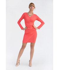 Řasené šaty s dlouhým rukávem a efektem sukně barva korálová XS S 1c9c36294f5