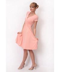 Oxyd Delší vycházkové šaty s krátkým rukávem barva broskvová S M 4aaad9037f