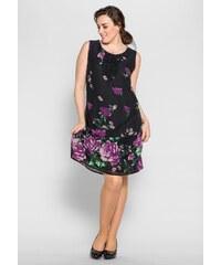 Große Größen: sheego Style Figurbetonendes Kleid, dunkellila-schwarz, Gr.40-58