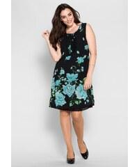 Große Größen: sheego Style Figurbetonendes Kleid, türkis-schwarz, Gr.40-58