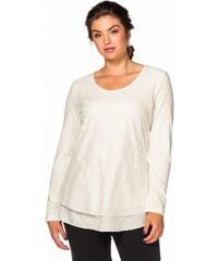 Große Größen: sheego Style Langarmshirt mit Stickerei, offwhite, Gr.40-58