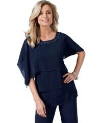 Damen Bluse mit edlen Schmucksteinen FAIR LADY blau 36,38,40,42,44,46,48,50,52,54