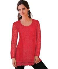 TOGETHER Damen Spitzen-Bluse mit Rundhals-Ausschnitt rot 36,38,40,42,44,46,48,50,52