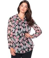SHEEGO STYLE Damen Style Bluse mit Alloverdruck schwarz 40,42,44,46,48,50,52,54,56,58