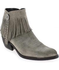 Boots Femme Khrio en Cuir velours Gris