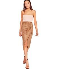 MISSGUIDED Tělová semišová wrap midi sukně
