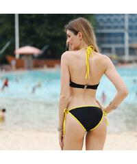 Lesara Neckholder-Bikini mit farbigen Säumen - Schwarz - S