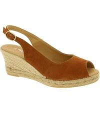 Sandály na klínku Tamaris hnědé, COGNAC SUEDE 1-28017-36-429