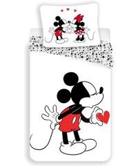 Jerry Fabrics Dětské oboustranné povlečení Mickey Mouse Heart, 140x200 cm/70x90 cm