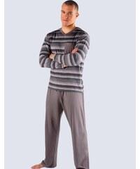 Pánské pohodlné vzdušné šedozelené pyžamo