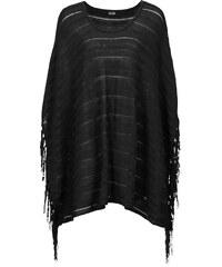 BODYFLIRT Poncho en maille noir sans manches femme - bonprix