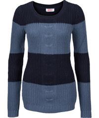 John Baner JEANSWEAR Pullover mit Zopfmuster, Langarm in blau für Damen von bonprix