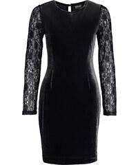 BODYFLIRT Samt-Kleid langarm in schwarz (Rundhals) von bonprix