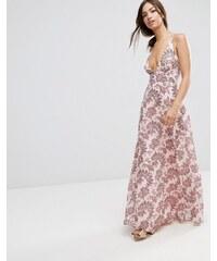 ASOS - Robe longue caraco à encolure plongeante et motif fleurs et cachemire - Rose - Multi